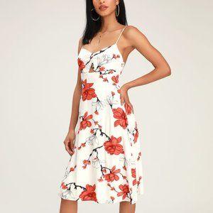 NWT Blossom Babe White Floral Cutout Midi Dress